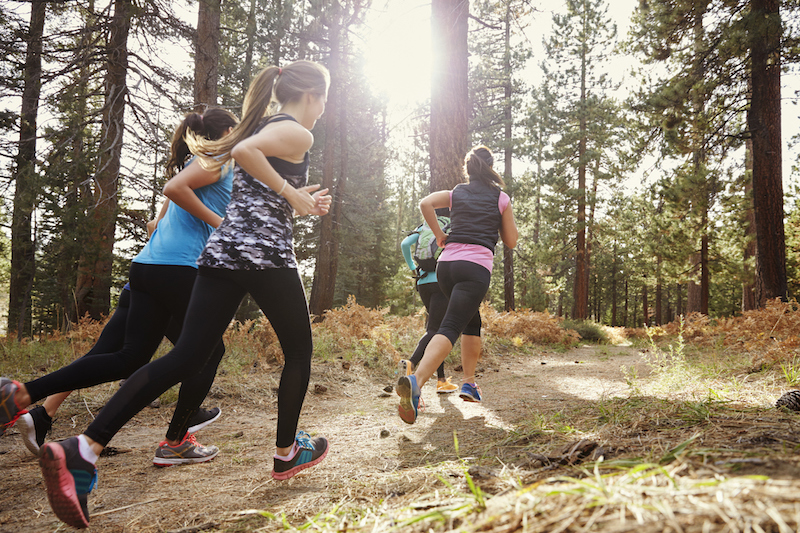 Group of young adult women running in a forest, back